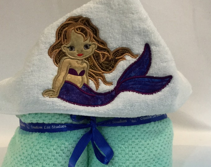 "Mermaid Appliqué Hooded Towel for Kids, Purple Tail & Brown Hair, Approx 30"" W x 52"" L; Quick Dry Towel FREE SHIPPING - IPFG-000300"