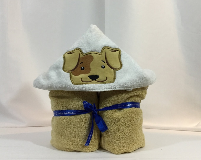 Brown Dog Hooded Towel for Kids, FREE SHIPPING, Full Size Bath Towel, Bath Wrap; - IPFG-000336