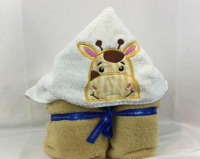"PERSONALIZE - Giraffe Hooded Towel Gold Towel approximately 30"" W x  52"" L; Kid's Bath Towel; Bath Wrap - IPFG-000062"