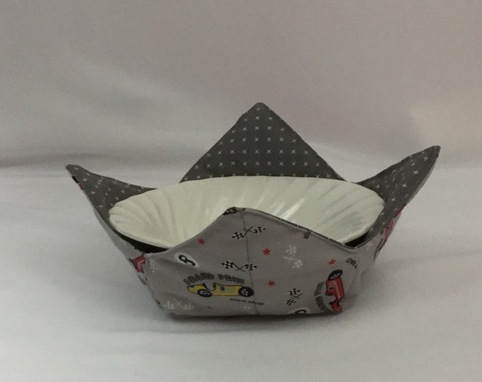 Grand Prix Race Cars Microwave Bowl Cozy; Medium, Salad Bowl Size, Reversible, Free Shipping, Hot Bowl Pad-IPFG-000356