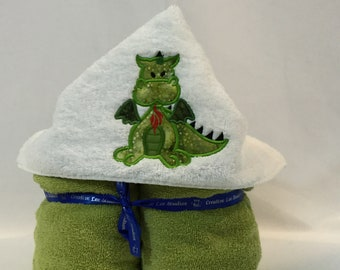 "Dragon Hooded Towel for Kids, Fire Breathing Dragon Towel, Approx 30"" W x 52"" L; Kid's Bath Wrap; FREE SHIPPING IPFG-000270"