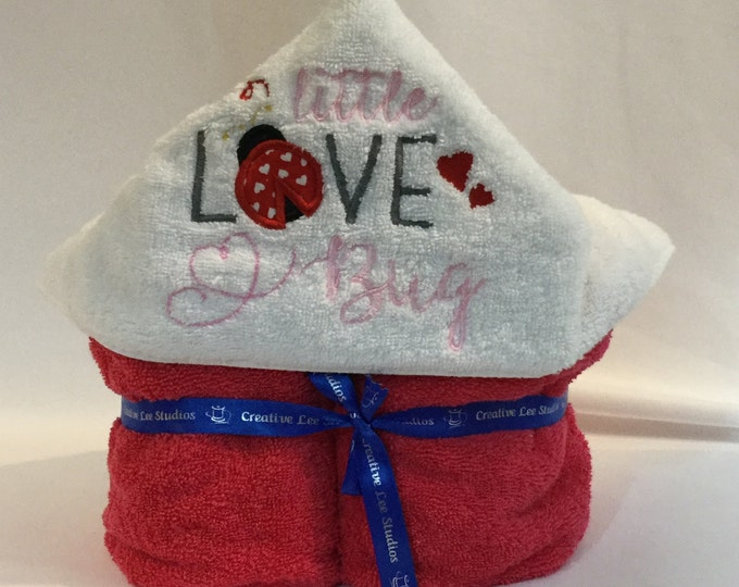 Little Love Bug Hooded Towel for Kids, FREE SHIPPING, Full Size Bath Towel; Girl Hoodie, Bath Wrap - IPFG-000302