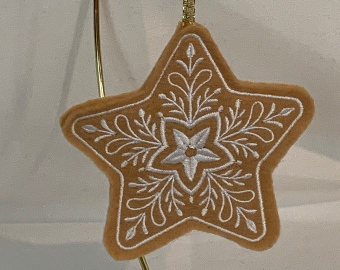 Star Gingerbread Cookie Ornament; Gingerbread Cookie Ornament; Felt Cookie Ornament; Christmas Star; FREE SHIPPING - IPFG-000157