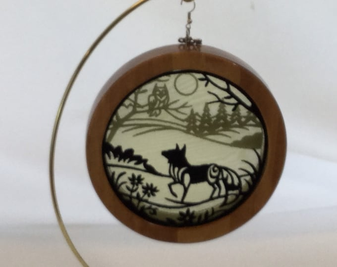 3-D Fox Silhouette Shadowbox Ornament; 2020 Charm, Organza Art; Framed Ornament; Embroidered Organza - IPFG-000120