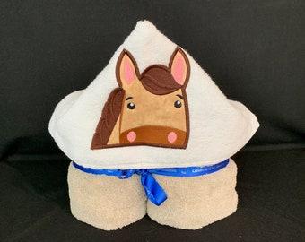 Boy Horse Hooded Brown Towel for Kids, Full Size Bath Towel, Bath Wrap, FREE SHIPPING IPFG-000261