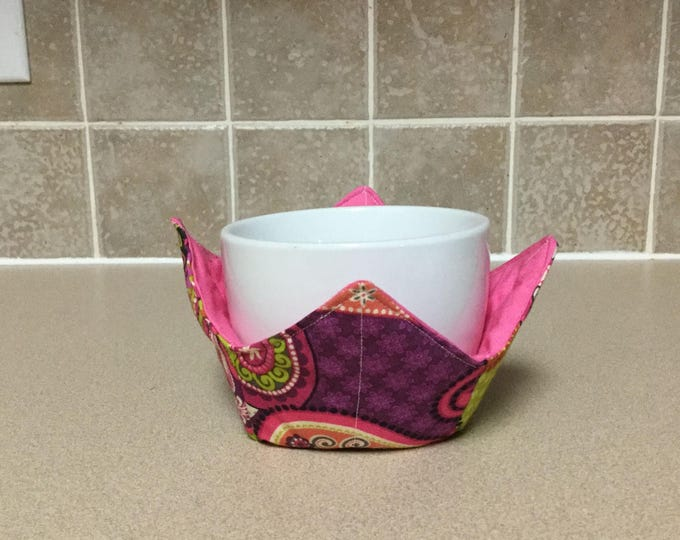 """Pink Paisley Microwave Bowl Cozie-Small 4"""" Bottom Diameter; Ice Cream Bowl Pad, Coffee Cup Size; Small Bowl Size; Reversible - IPFG-000004"""