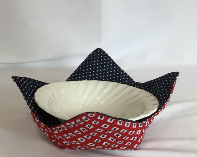 "Stars Galore Microwave Bowl Cozy-Medium 6"" Bottom Diameter; Leftover Hot Bowl Pad; Ice Cream Bowl Pad, Soup Bowl Cozy Reversible-IPFG-000202"