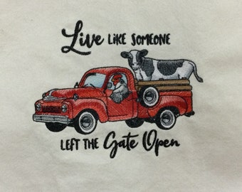 Kitchen Towel - Chicken and Cow in a Retro Truck - Live Like Someone Left The Gate Open, FREE SHIPPING, Back Hanging Tab-IPFG-000423