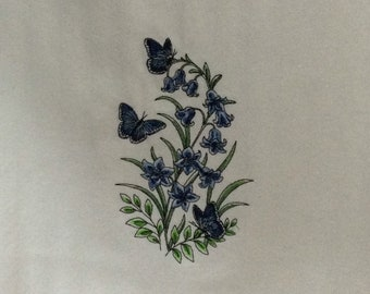 Kitchen Towel -  Butterflies - Bluebells and Blue Morphos Garden, FREE SHIPPING, Back Hanging Tab-IPFG-000410