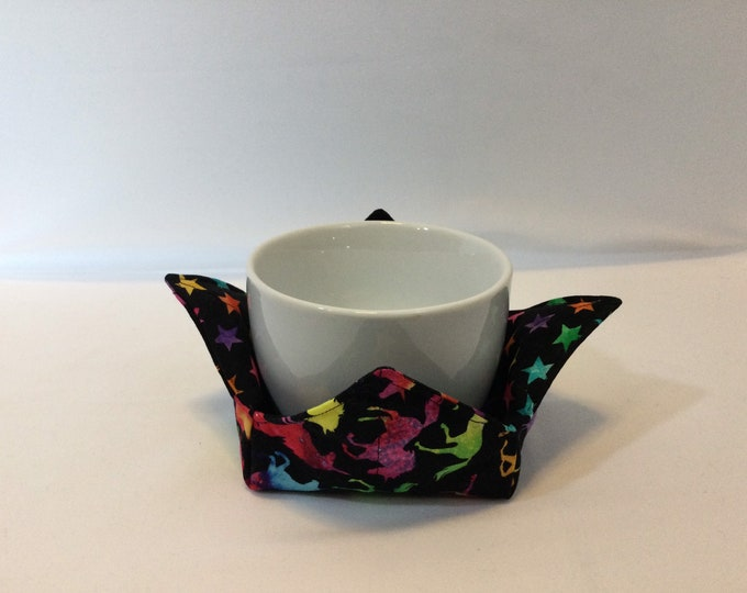Rainbow Unicorns Microwave Bowl Cozy; Small Bowl Size, Coffee Cozy, Reversible, Free Shipping, Hot Bowl Pad-IPFG-000408