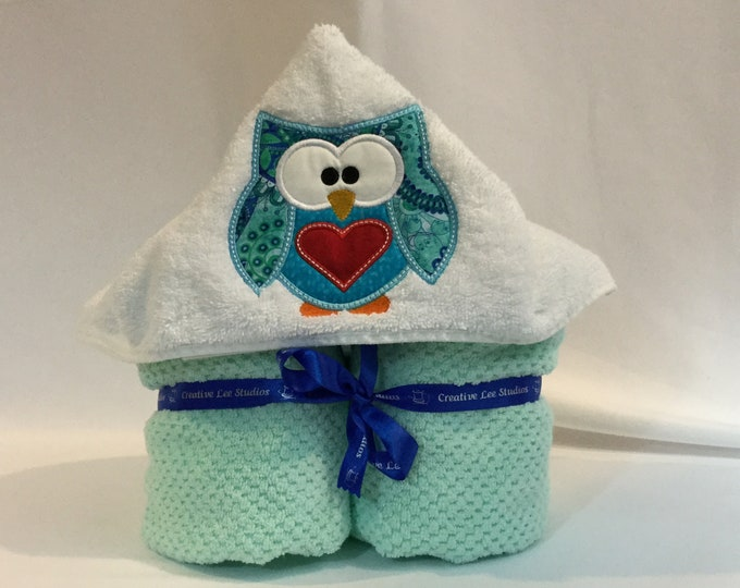 Aqua Love Owl Hooded Towel for Kids, Full Size Bath Towel, Hoodie; Bath Wrap; FREE SHIPPING - IPFG-000307