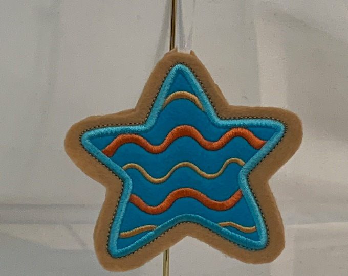 Blue Icing Star Cookie Ornament made with Felt; Embroidered Star Ornament; FREE SHIPPING; Icing Cookie Ornament - IPFG-000247