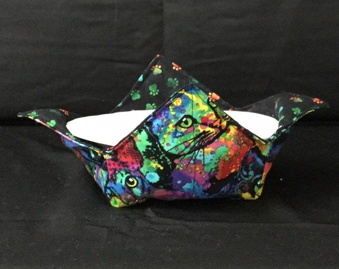 "Sweet Cats Microwave Bowl Cozy; Medium 6"" Bottom Diameter, Free Shipping, Hot Bowl Pad-IPFG-000221"