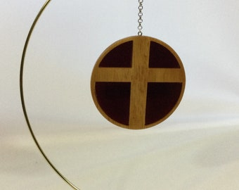 Wood Cross with Stained Glass Ornament, Hand Crafted Cross, Red Stained Glass - IPFG-000434