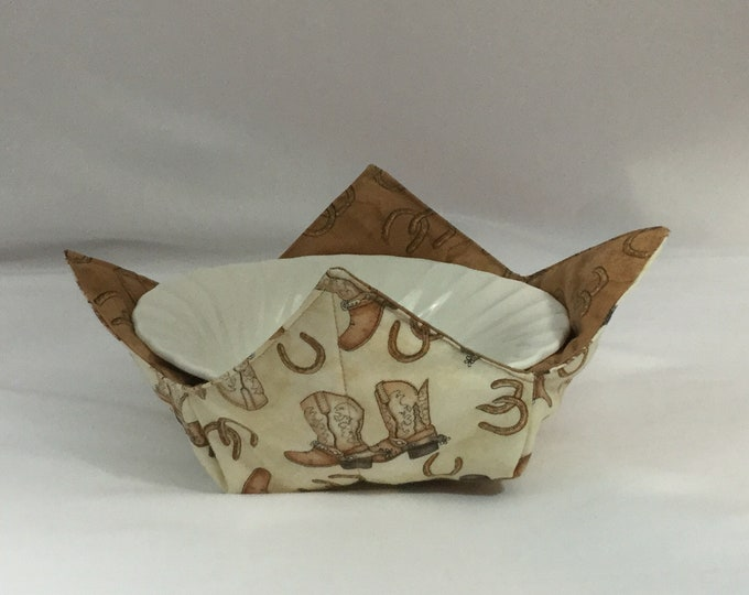 Cowboy Boots and Horse Shoes Microwave Bowl Cozy; Medium, Salad Bowl Size, Reversible, Free Shipping, Hot Bowl Pad-IPFG-000350