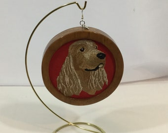 American Cocker Spaniel Head Ornament; My Kid's Have 4 Feet, on Red Faux Suede Fabric with a Cherry Stain Wood Frame-IPFG-000379