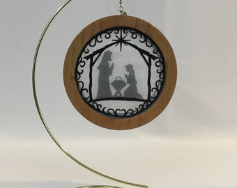 3-D Nativity Silhouette Christmas Ornament; 2020 Charm, Christmas Shadowbox Ornament; Religious Ornament; Cherry Stained Wood - IPFG-000231