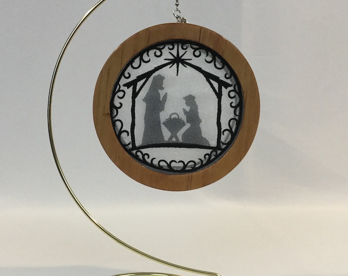 3-D Nativity Silhouette Christmas Ornament; 2020 Charm, Holy Family Organza Ornament; Religious Ornament; Cherry Stained Wood - IPFG-000231