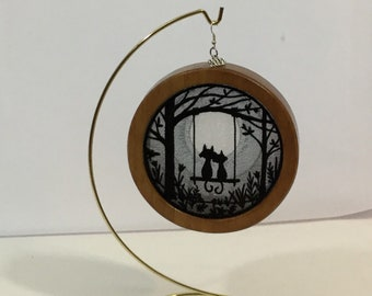 3-D Midnight Meowmance Silhouette Ornament; 2020 Charm,  Cat Shadowbox Ornament; Cherry Stained Wood - IPFG-000309