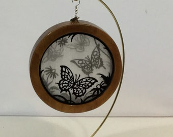 3-D Butterfly Garden Silhouette Ornament; 2020 Charm, Shadowbox Ornament; Cherry Stained Wood - IPFG-000308