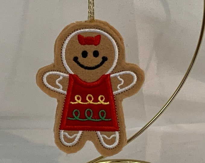 Girl Gingerbread Cookie Ornament made with Felt; Embroidered Gingerbread Ornament; FREE SHIPPING; Icing Cookie Ornament - IPFG-000244