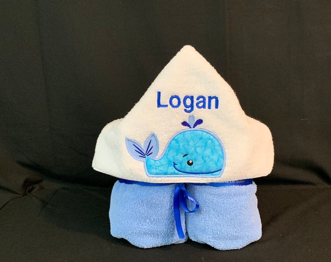 Whale Hooded Towel for Kids, FREE SHIPPING, Full Size Plush Bath Towel; Whale Bath Wrap - IPFG-000047