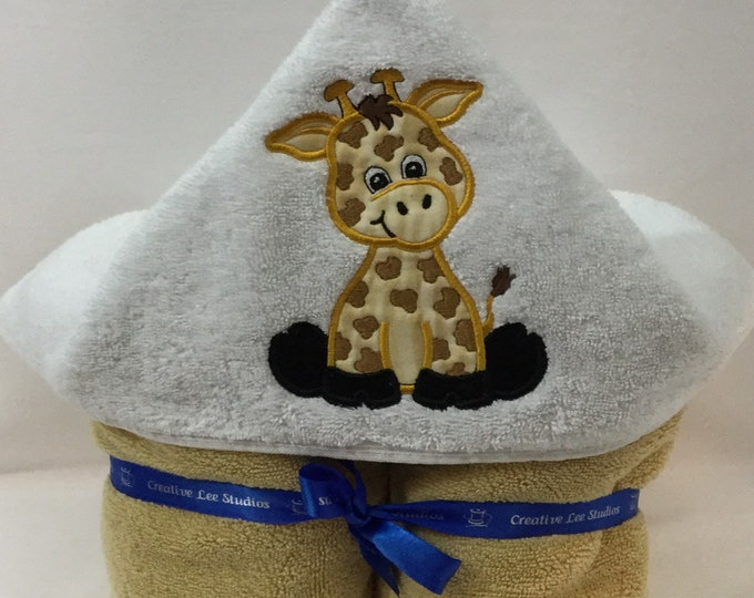Giraffe Hooded Towel for Kids, FREE SHIPPING, Full Size Plush Bath Towel; Bath Wrap - IPFG-000406