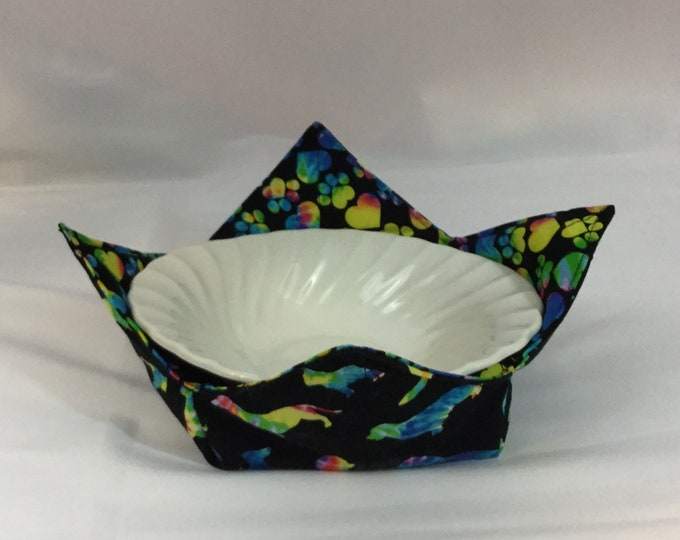 Rainbow Dogs Microwave Bowl Cozy; Medium, Salad Bowl Size, Reversible, Free Shipping, Hot Bowl Pad-IPFG-000342