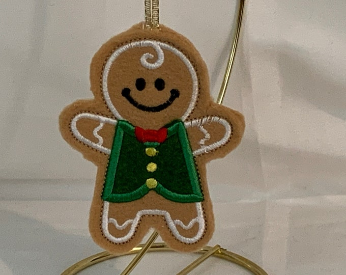 Boy Gingerbread Cookie Ornament made with Felt; Embroidered Gingerbread Ornament; FREE SHIPPING; Icing Cookie Ornament - IPFG-000243