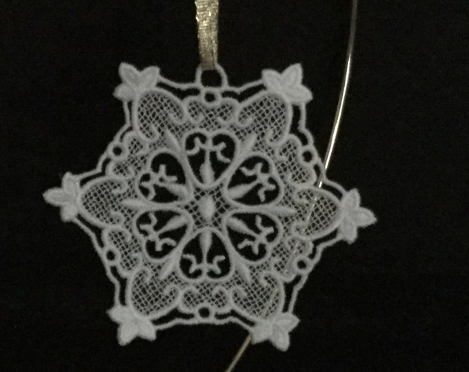 Lace Heart Snowflake Ornament; Free Standing Lace created by Thread, Christmas Card Insert Gift; Heart Ornament - IPFG-000286