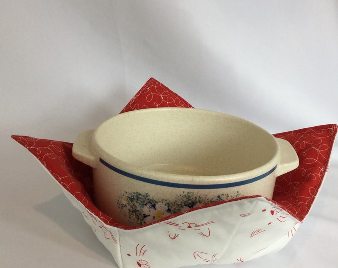 """Red Cat Face Microwave Bowl Cozy-Large 8"""" Bottom Diameter; Leftover Hot Bowl Pad; Ice Cream Bowl Pad, Reversible - IPFG-000198"""