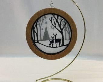 3-D Woodland Silhouette Christmas Ornament; 2019 Charm, Organza Art, Deer Christmas Ornament; Embroidered; Cherry Stain Frame  - IPFG-000341