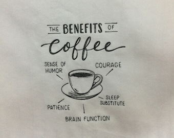 Kitchen Towel - Benefits of Coffee, FREE SHIPPING, Back Hanging Tab-IPFG-000420