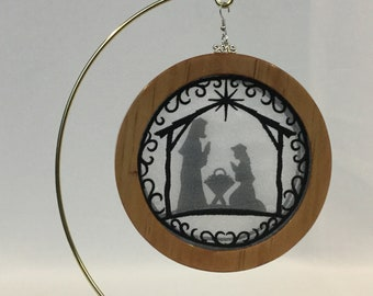 3-D Nativity Silhouette Christmas Ornament; 2019 Charm, Holy Family Organza Ornament; Religious Ornament; Cherry Stained Wood - IPFG-000231