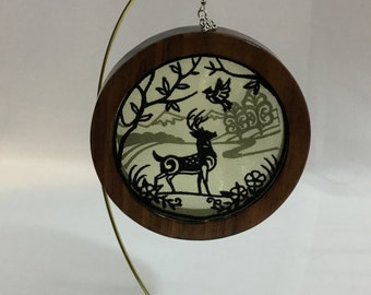 3-D Stag Silhouette Ornament; Shadowbox Organza Art Ornament; Red Mahogany Stained Wood - IPFG-000314