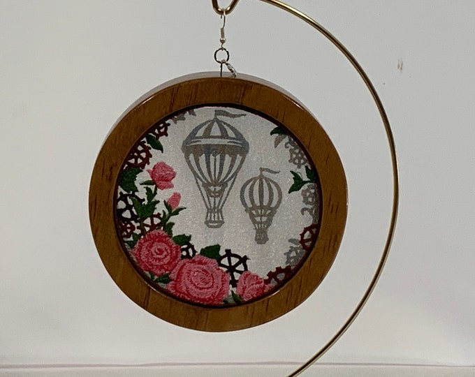 3-D Up, Up and Away Balloon Silhouette Ornament; Rose Garden, Shadowbox Ornament; Cherry Stain Wood - IPFG-000311