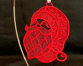 Santa Claus Ornament; Free Standing Lace Santa Claus Ornament; Christmas Card Insert Gift - IPFG-000290