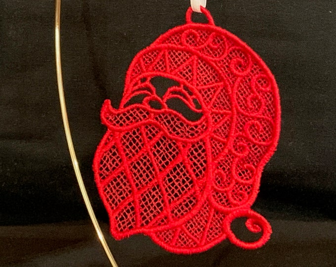 Santa Claus Ornament; Free Standing Lace Santa Claus Ornament; Christmas Card Insert Gift - IPFG-000290
