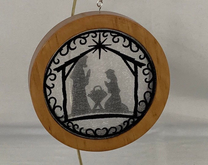 3-D Nativity Silhouette Christmas Ornament; Holy Family Organza Ornament; Religious Ornament; Cherry Stained Wood - IPFG-000231