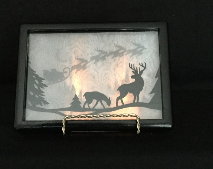 3-D Santa Sleigh Ride Silhouette Shadowbox, Battery Operated Tea Light and Stand, Organza Art - IPFG-000117