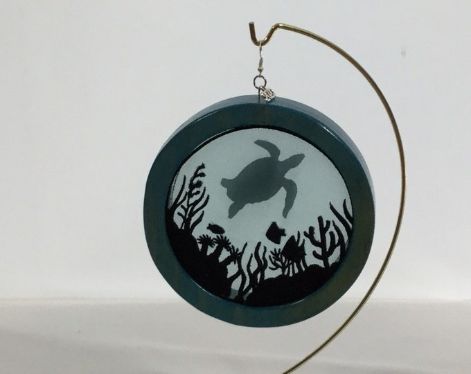3-D Sea Life & Sea Turtle Silhouette Ornament; 2020 Charm Included, Turtle Organza Ornament; Shadowbox Ornament - IPFG-000232