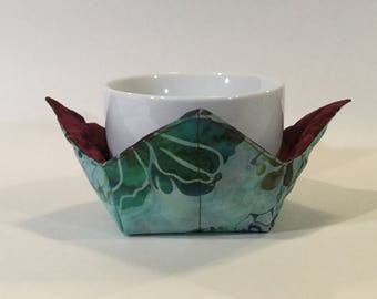 """Jade Flower Garden Microwave Bowl Cozy-Small 4"""" Bottom Diameter; Ice Cream Bowl Pad, Coffee Cup Size/Small Bowl Size/Reversible IPFG-000079"""