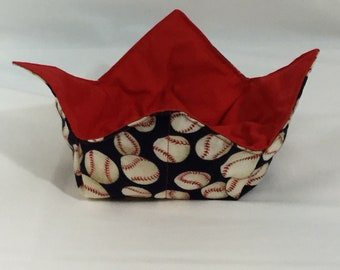 "Baseball Microwave Bowl Cozy  6"" Medium; Baseball Lover, Hot Bowl Pad; Ice Cream Cozy, College Dorm; Lunch Cozy,  Reversible - IPFG-000182"