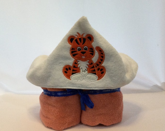 Tiger Hooded Towel for Kids, FREE SHIPPING, Full Size Bath Towel, Hoodie; Bath Wrap - IPFG-000425