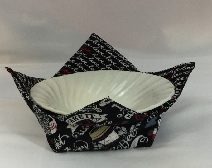 Coffee Lover Microwave Bowl Cozy; Medium, Salad Bowl Size, Reversible, Free Shipping, Hot Bowl Pad-IPFG-000364