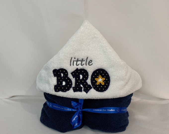 "Little Bro Hooded Towel for Kids, Approx 30"" W x 52"" L; Plush Towel; Kid's Bath Wrap; FREE SHIPPING - IPFG-000255"