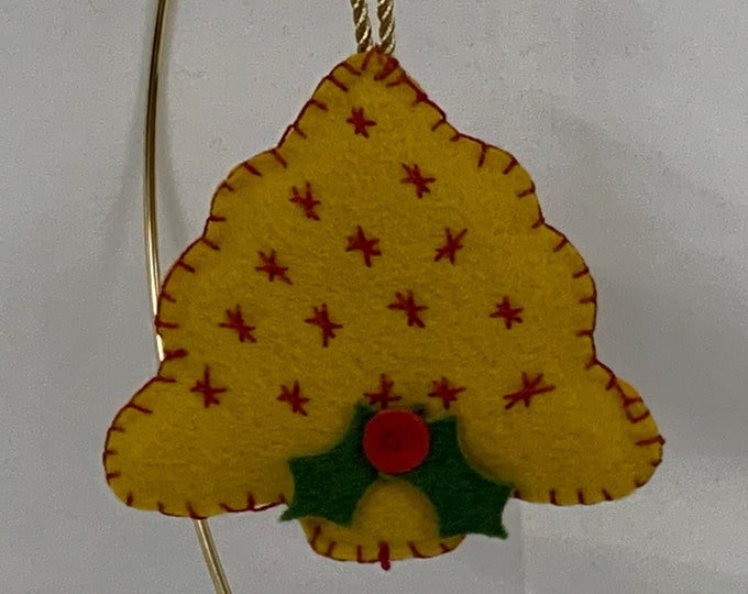 """Hand Stitched Christmas Tree Ornament - Gold - Hand Stitched; 5-1/2"""" High, Wool Felt - IPFG-000084"""