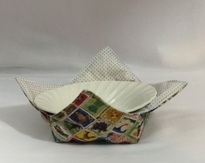 Stamp Collection Microwave Bowl Cozy; Medium, Salad Bowl Size, Reversible, Free Shipping, Hot Bowl Pad-IPFG-000357