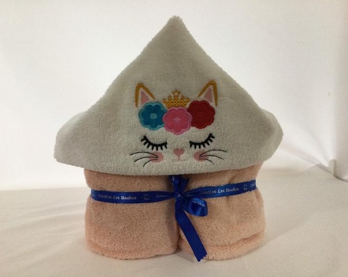 Princess Kitten Hooded Towel for Kids, FREE SHIPPING, Full Size Bath Towel, Hoodie; Bath Wrap - IPFG-000426