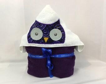 "Owl Hooded Towel For Kids, Plush Purple Towel approx 30"" W x 52"" L;  Hoodie Towel, Appliqué Hoodie Towel-IPFG-000162"